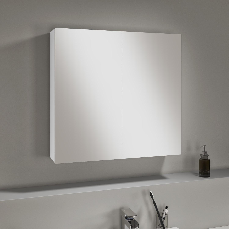 White Gloss Mirrored Double Door Bathroom Wall Cabinet 667 X 600mm Harper Better Bathrooms