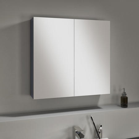 Harper 667mm Mirror Cabinet Grey Lacquered