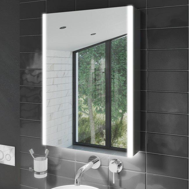 500 x 700mm Illuminated Mirrored Bathroom Cabinet Single Door - Mizar