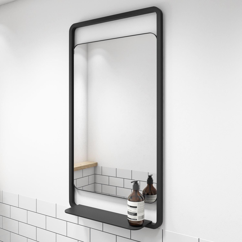 Matt Black Frame Bathroom Mirror With Shelf 500 X 900mm Nero Better Bathrooms