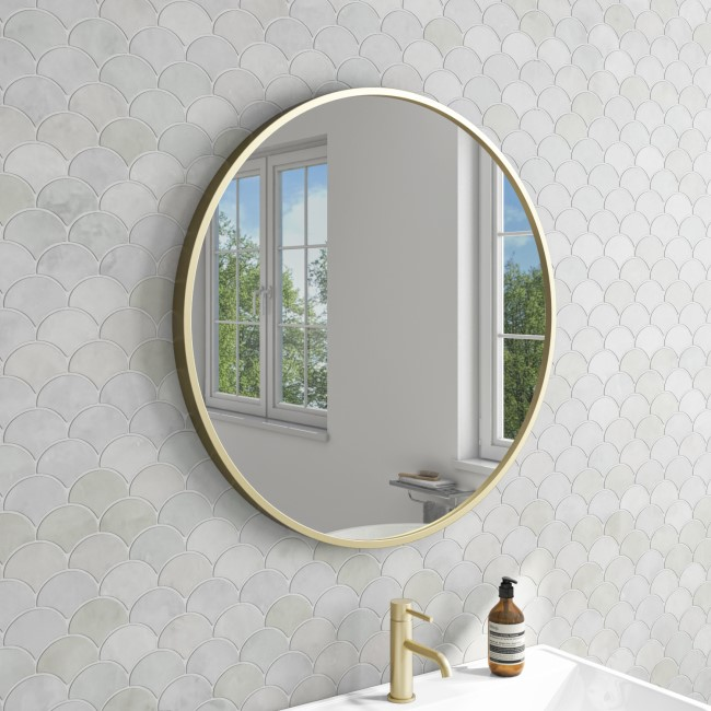 Alcor Brushed Gold Bathroom Mirror - 600 x 600mm