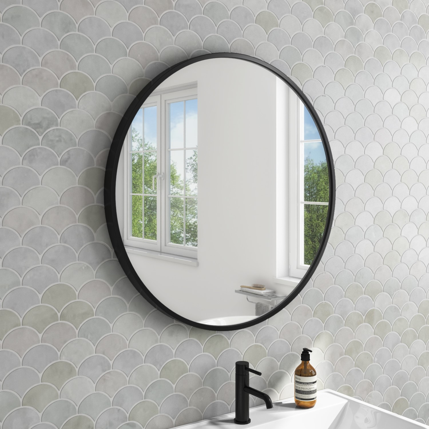 600 X 600mm Black Frame Round Mirror Alcor Better Bathrooms