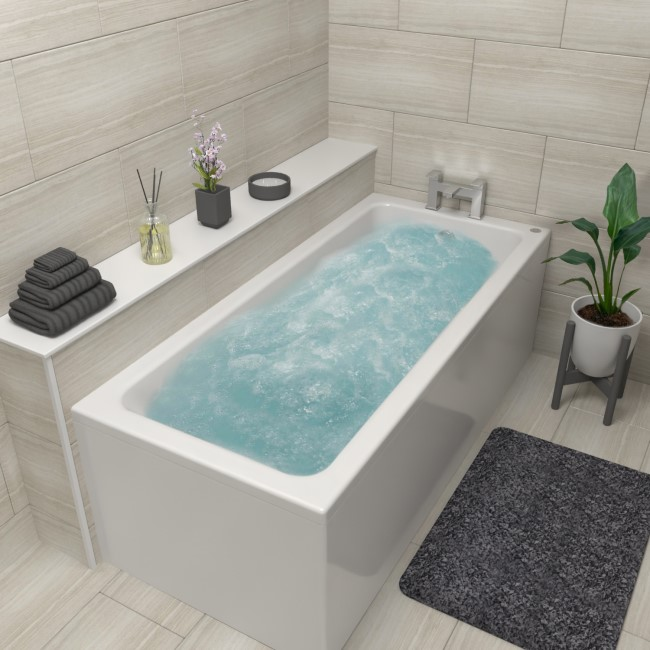 Rutland Single Ended Bath with 6 Jet Whirlpool System - 1700 x 750mm