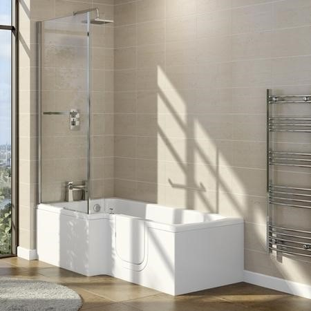 Yale 1700mm Right Hand Easy Access L Shape Walk In Shower Bath with Screen