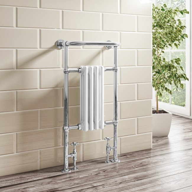 Regent Chrome and White Heated Towel Rail - 952 x 479mm