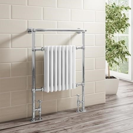 Regent Traditional Heated Towel Rail - 952mm x 659mm - Chrome and White