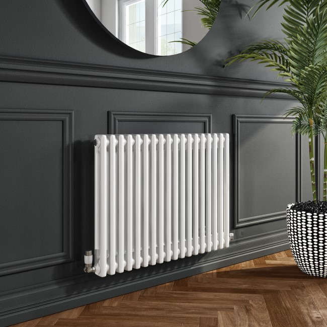 Nambi White 2 Column Horizontal Radiator - 600 x 828mm
