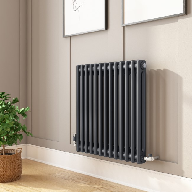 Nambi Anthracite 2 Column Horizontal Radiator - 600 x 603mm