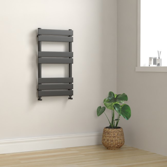 Tundra Anthracite Heated Towel Rail - 800 x 450mm