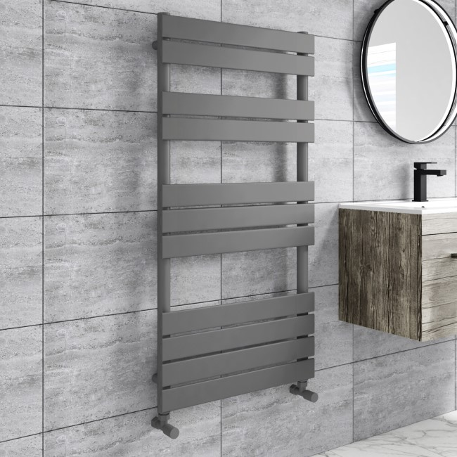 Tundra Anthracite Heated Towel Rail - 1200 x 600mm