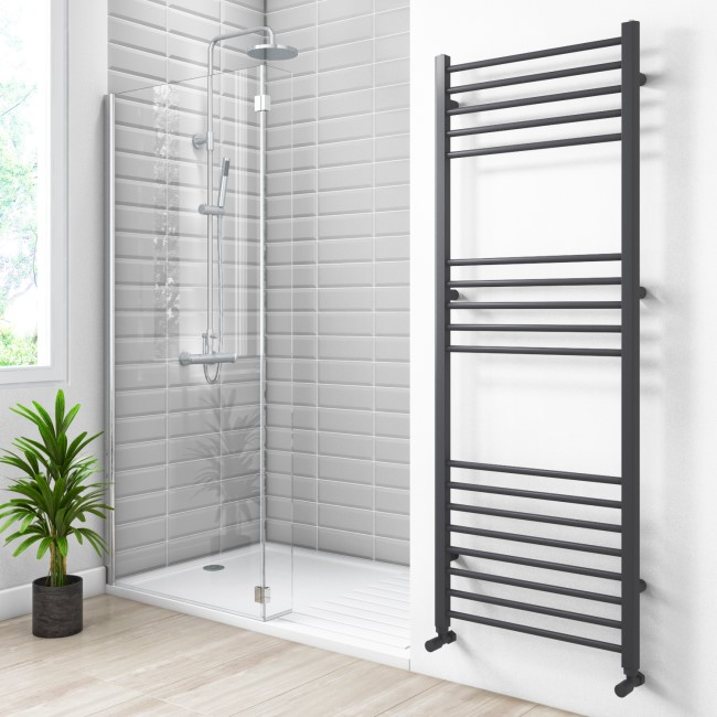 Sahara Anthracite Heated Towel Rail - 1600 x 600mm