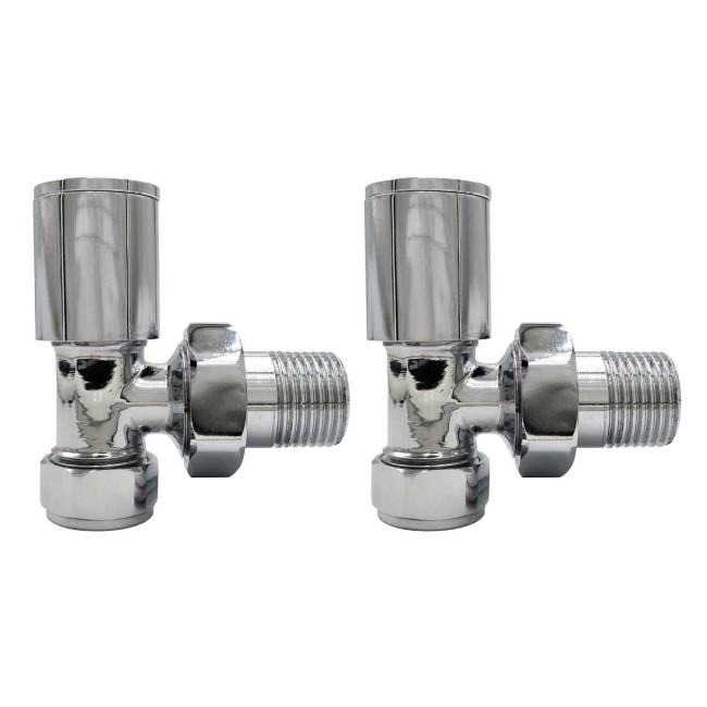 GRADE A1 - Chrome Round Angled Radiator Valves - For Pipework Which Comes From The Wall