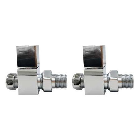 Chrome Square Straight Radiator Valves - For Pipework Which Comes From The Floor