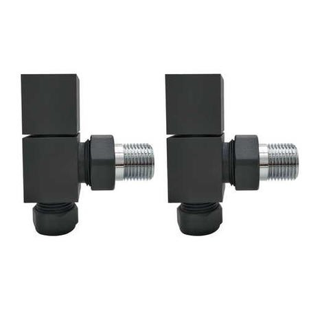 Anthracite Square Angled Radiator Valves - For Pipework Which Comes From The Wall