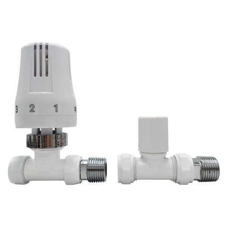 White Thermostatic Straight Radiator Valves - For Pipework Which Comes From The Floor
