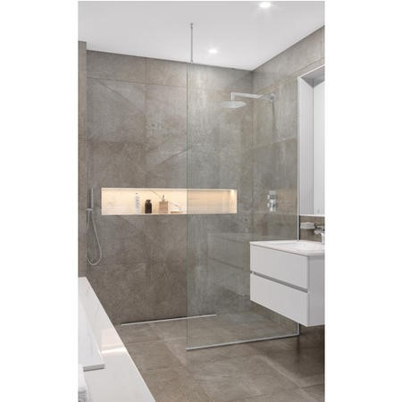 Wetroom Screen with Ceiling Bar 2000 x 1100mm - 8mm Glass - Chrome