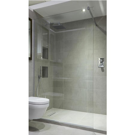 Wetroom Screen with Wall Bar 2000 x 1100mm - 8mm Glass - Chrome