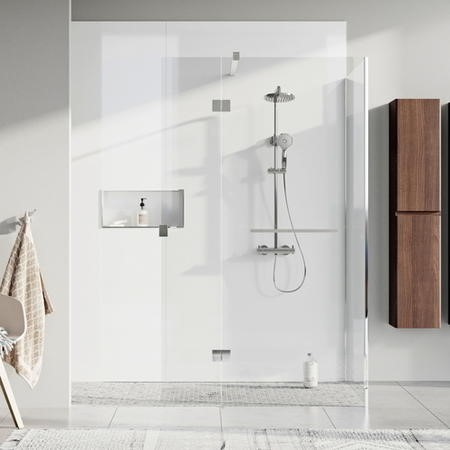 Wetroom Screen and Pivot Return Panel  900 x 350mm - 8mm Glass - Chrome