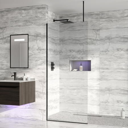 Wetroom Screen with Ceiling Bar 2000 x 1000mm - 8mm Glass - Black