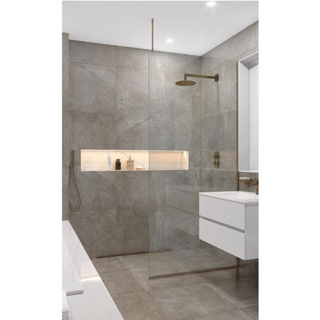 Wetroom Screen with Ceiling Bar 2000 x 700mm - 8mm Glass - Brushed Bronze