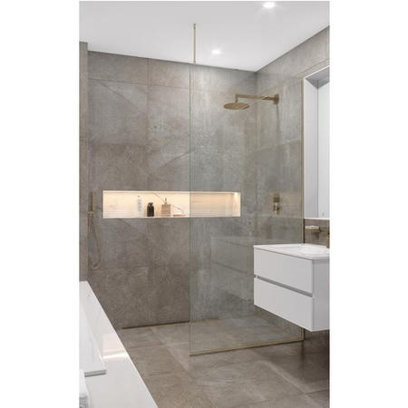 Wetroom Screen with Ceiling Bar 2000 x 745mm - 8mm Glass - Brushed Nickel