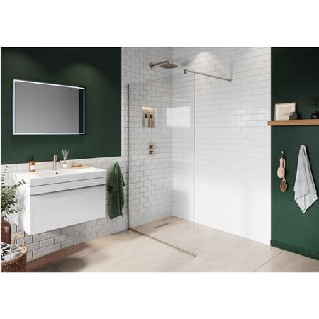 Wetroom Screen with Wall Bar 2000 x 700mm - 8mm Glass - Brushed Nickel