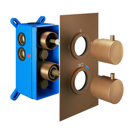 Brushed Bronze Twin Outlet Round Thermostatic Shower Valve