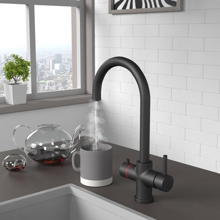 3 in 1 Instant Boiling Water Kitchen Tap with Filter - Matt Black
