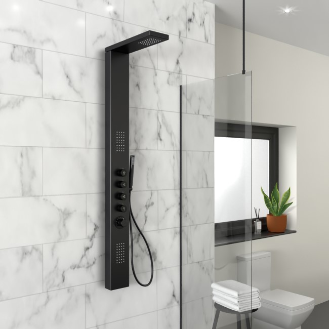 Black Thermostatic Shower Tower Panel - Provo