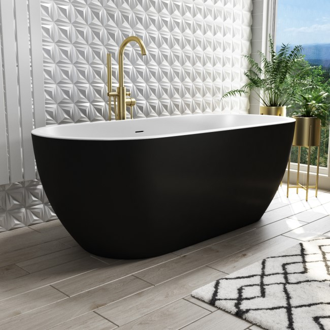 Sintra Freestanding Double Ended Bath Matt Black - 1645 x 745mm