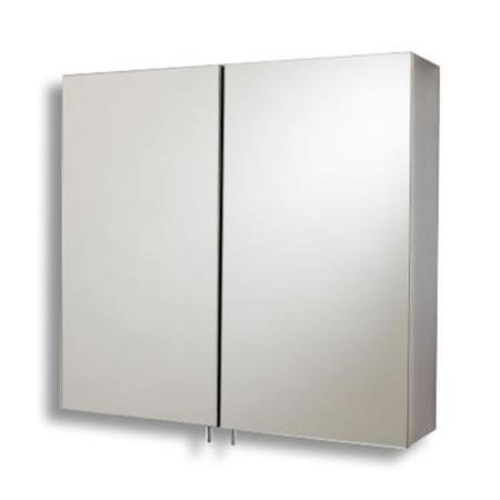 600mm Wall Hung Mirrored Cabinet - Stainless Steel Double Door Unit