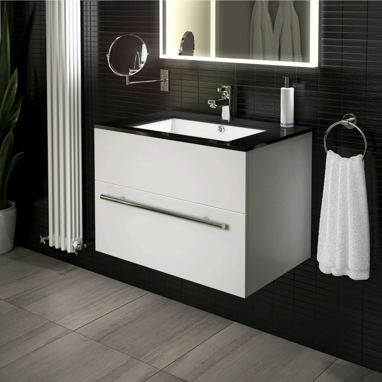 Bathroom Vanity Unit 750mm Cloakroom Classic Gloss White and Ceramic Basin