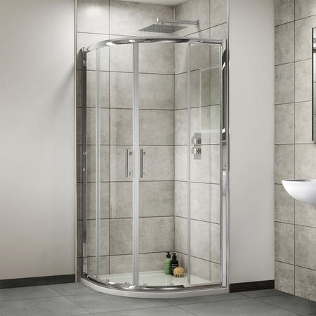 800 x 800 Quadrant Sliding Shower Enclosure - 4mm Glass - Aqualine Range