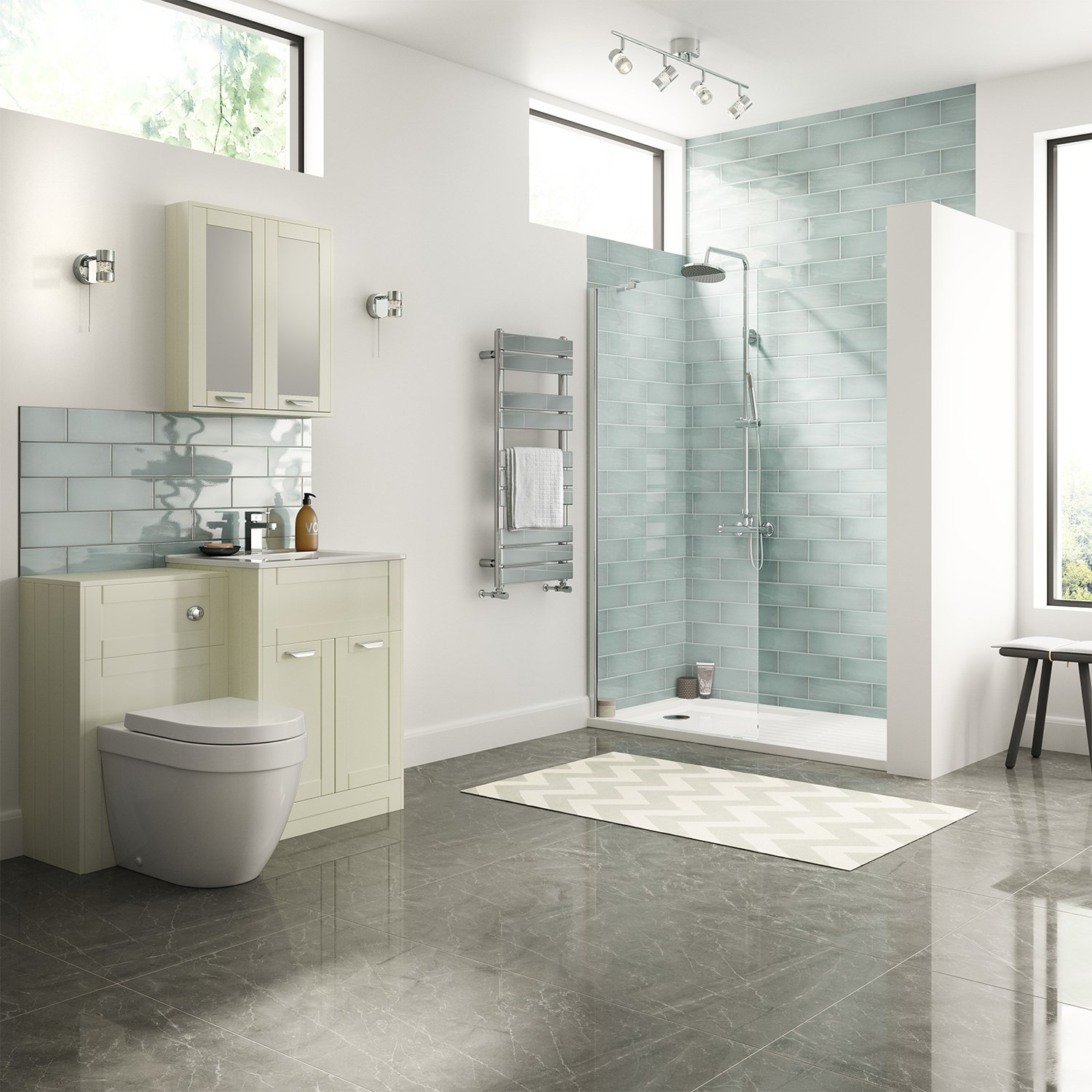 900mm Wetroom Glass Walk In Shower Enclosure 1300 x 800mm Tray Free Waste