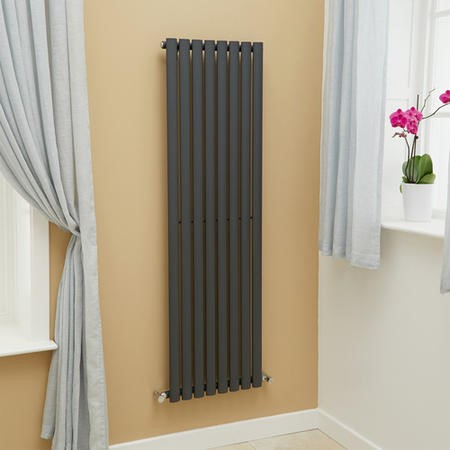 Nevada Beta Heat 1600 x 480mm Single Oval Panel Anthracite Vertical Radiator