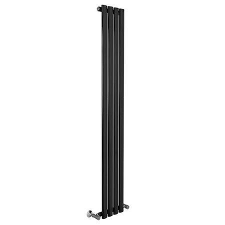 Nevada Beta Heat 1600 x 240mm Single Oval Panel Black Vertical Radiator
