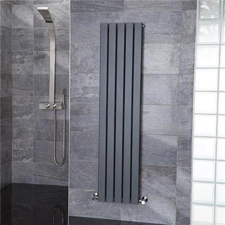 Vega 1600 x 375mm Single Flat Panel Anthracite Vertical Radiator