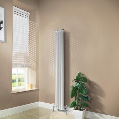 Carrera 1500 x 196mm Dual Column White Vertical Radiator