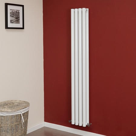 Langham 1600 x 225mm Double Round Panel White Vertical Radiator