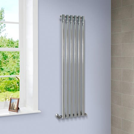 Langham 1600 x 395mm Single Round Panel Chrome Vertical Radiator