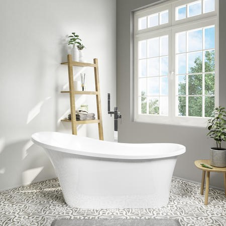 1520 x 750mm Single Ended Slipper Freestanding Bath - Torrelino