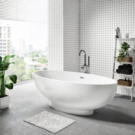 GRADE A1 - Oval Double Ended Freestanding Bath - L1680 x W800mm