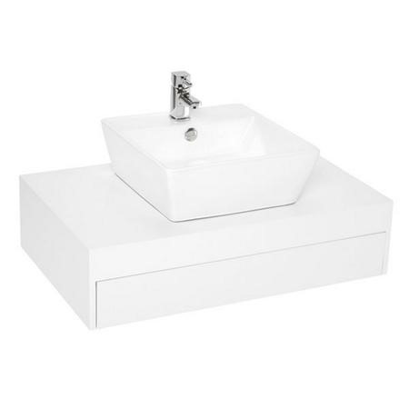 800mm Wall Hung Vanity Basin Unit - White Single Drawer - Barletta Range