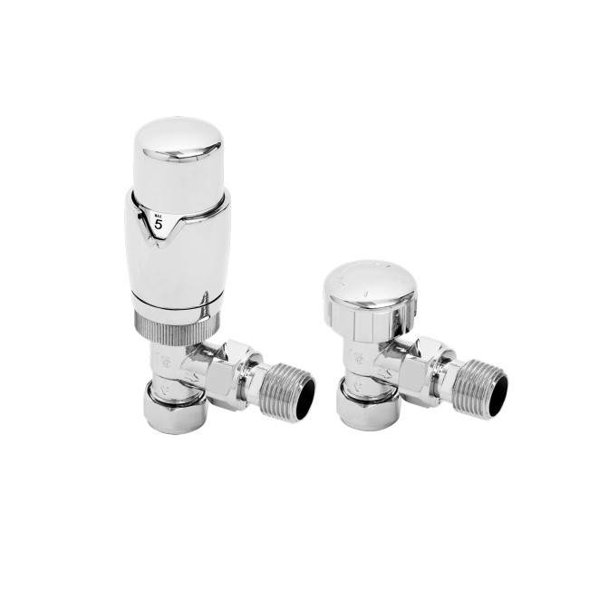Thermostatic Angled Chrome Radiator Valves- For Pipework Which Comes From The Wall