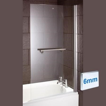 Straight Hinged Bath Shower Screen H1435 x W770mm with Towel Rail