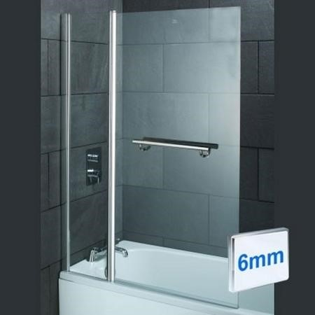 Straight Hinged Bath Shower Screen H1435 x W1000mm with Towel Rail
