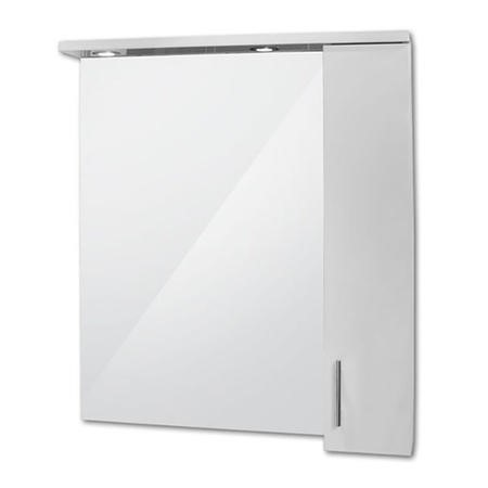 850mm Wall Hung Mirrored Cabinet Single Door 2 Lights - Windsor