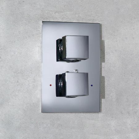 Concealed Dual Control Thermostatic Shower Valve - Cube Range