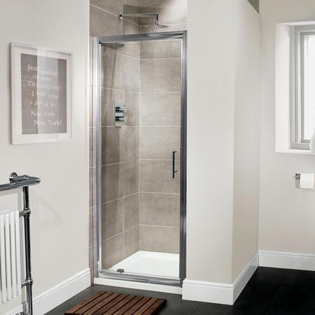 Premium 760mm Pivot Shower Door 6mm Glass - Aquafloe