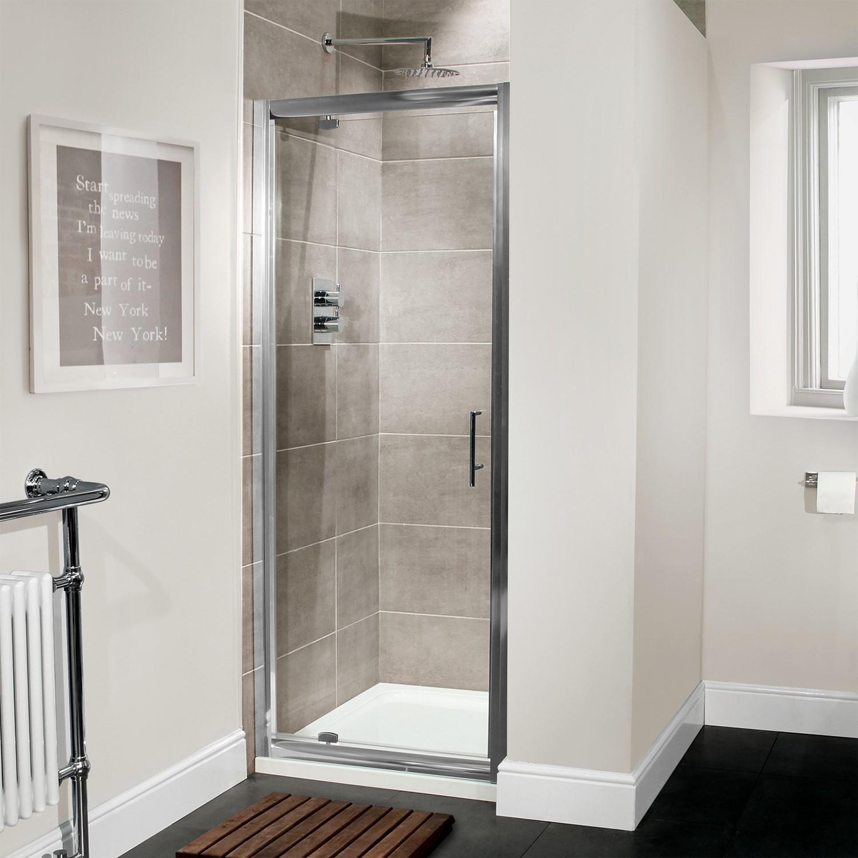 Premium 760mm Pivot Shower Door 6mm Glass Aquafloe